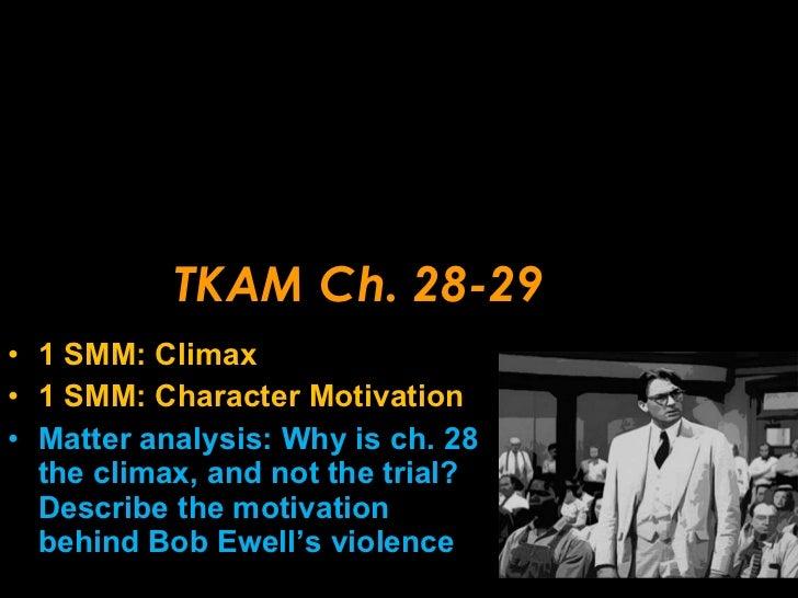 TKAM Ch. 28-29 <ul><li>1 SMM: Climax </li></ul><ul><li>1 SMM: Character Motivation </li></ul><ul><li>Matter analysis: Why ...