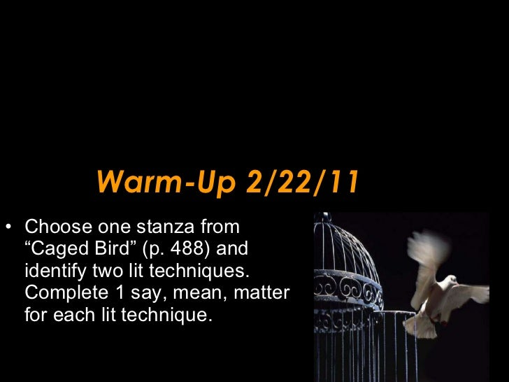 """Warm-Up 2/22/11 <ul><li>Choose one stanza from """"Caged Bird"""" (p. 488) and identify two lit techniques.  Complete 1 say, mea..."""