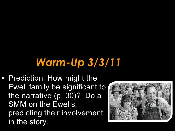 Warm-Up 3/3/11 <ul><li>Prediction: How might the Ewell family be significant to the narrative (p. 30)?  Do a SMM on the Ew...