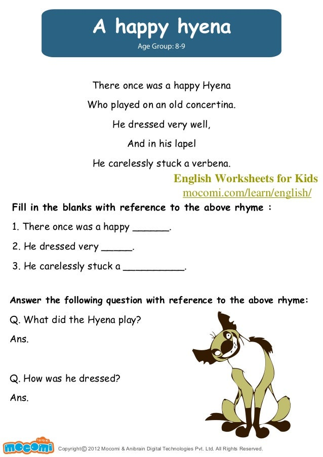 A Happy Hyena English Worksheets For Kids Mocomi