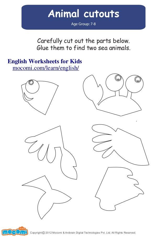 Animal cutouts u2013 English Worksheets for Kids u2013 Mocomi.com