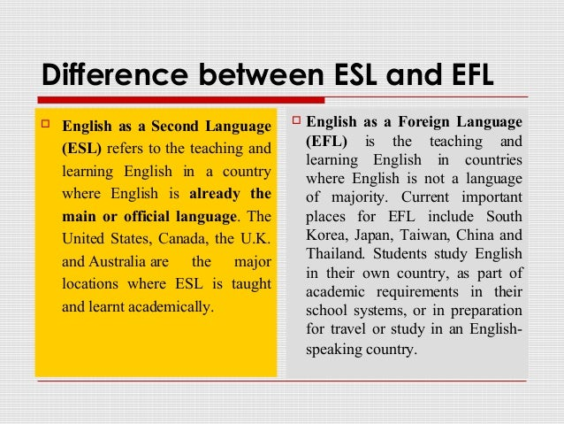 English as a Foreign Language (EFL) - Definitions