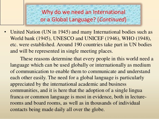 essay about why english is international language