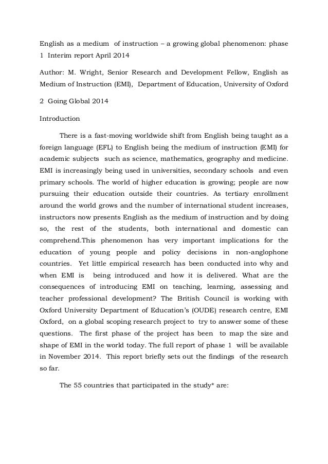 english as a medium of instruction essay Afterthat english is the medium of instruction, with swahili offered as a curriculumsubject.