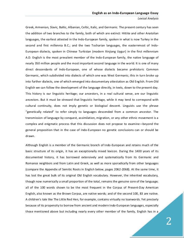 Development of english language essay