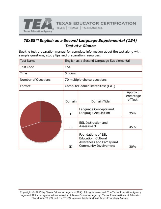TExES™ English as a Second Language Supplemental (154) Test at a Glance See the test preparation manual for complete infor...