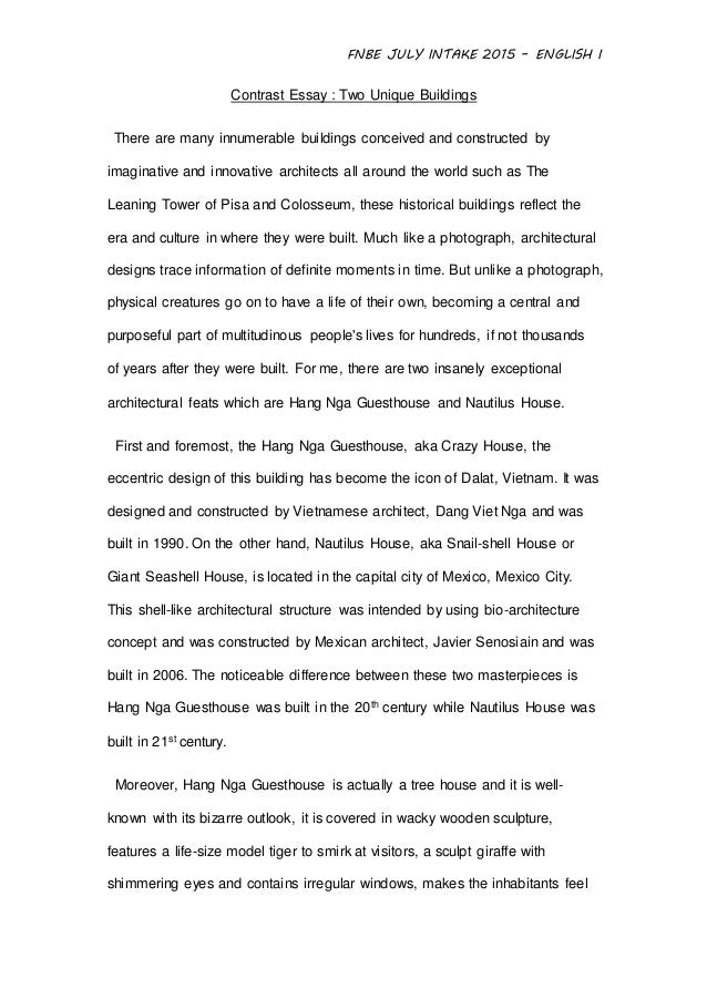 English assignment 1 - Contrast essay between two unique building