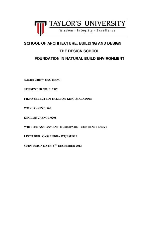 SCHOOL OF ARCHITECTURE, BUILDING AND DESIGN THE DESIGN SCHOOL FOUNDATION IN NATURAL BUILD ENVIRONMENT  NAME: CHEW UNG HENG...