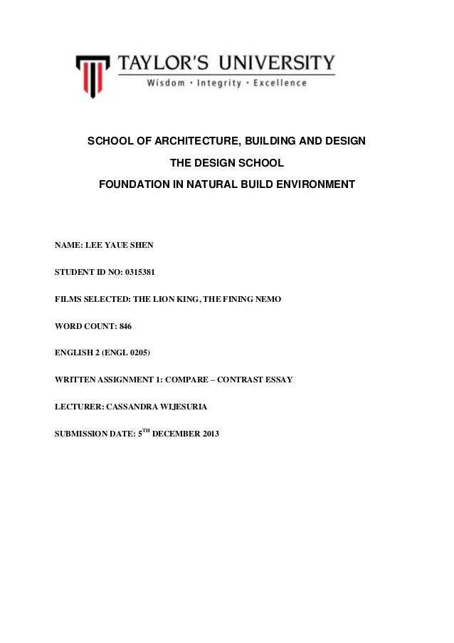 SCHOOL OF ARCHITECTURE, BUILDING AND DESIGN THE DESIGN SCHOOL FOUNDATION IN NATURAL BUILD ENVIRONMENT  NAME: LEE YAUE SHEN...