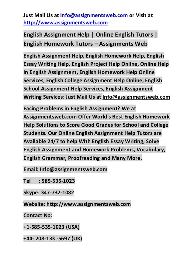 English Homework Help with Heaps of Benefits