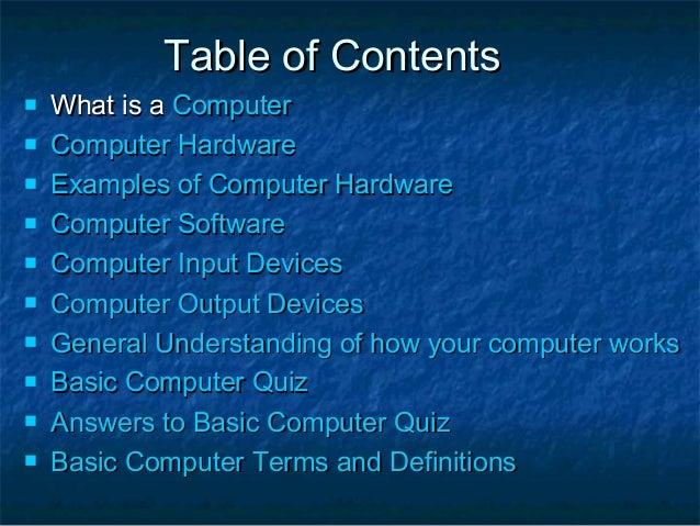Basic Computer Hardware Notes in PDF