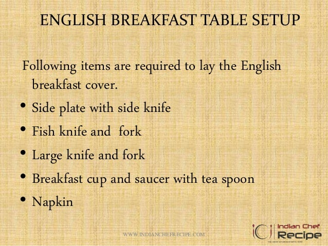ENGLISH BREAKFAST TABLE SETUP ...  sc 1 st  SlideShare & ENGLISH BREAKFAST