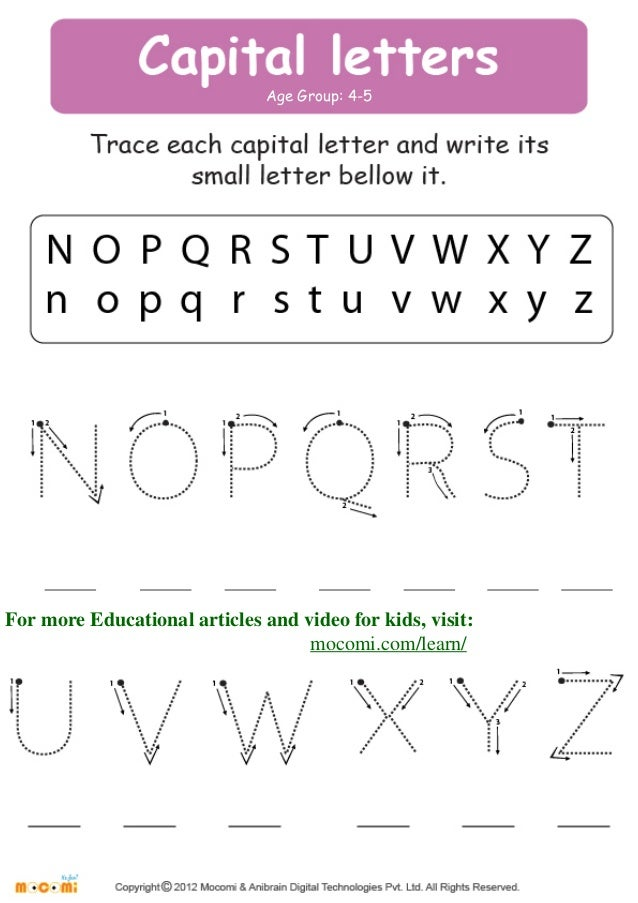 Capital Letters English Worksheets for Kids Mocomi – English Worksheets for Kids