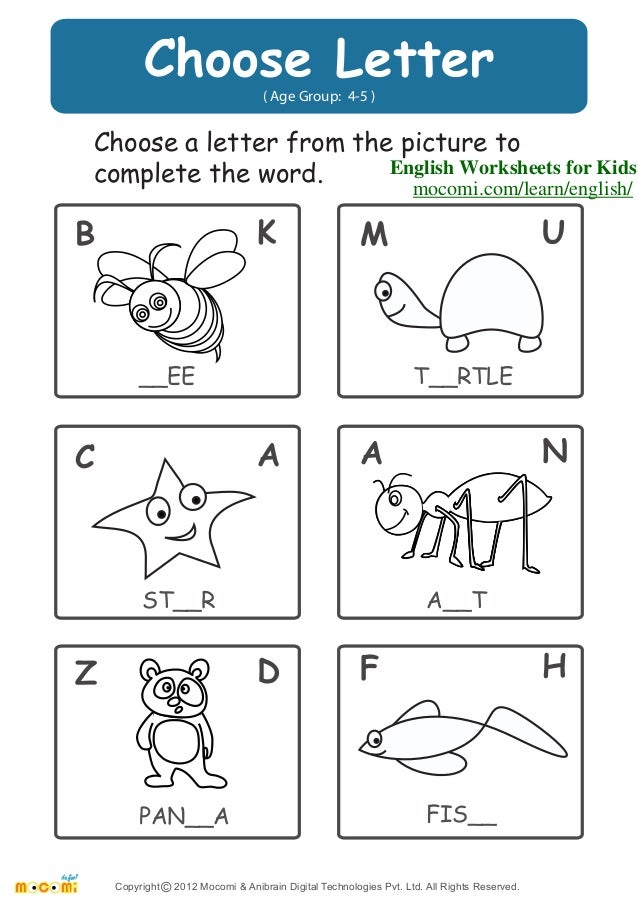 Choose Letter – English Worksheets for Kids – Mocomi.com