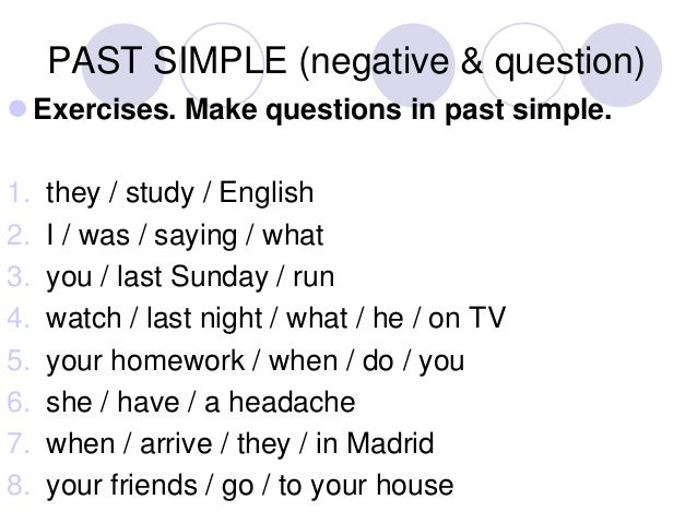 past simple questions exercises pdf