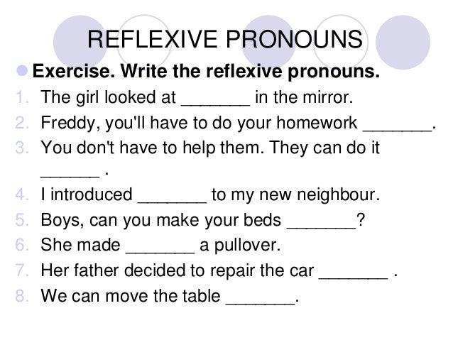 English class 11a – Reflexive Pronouns Worksheet