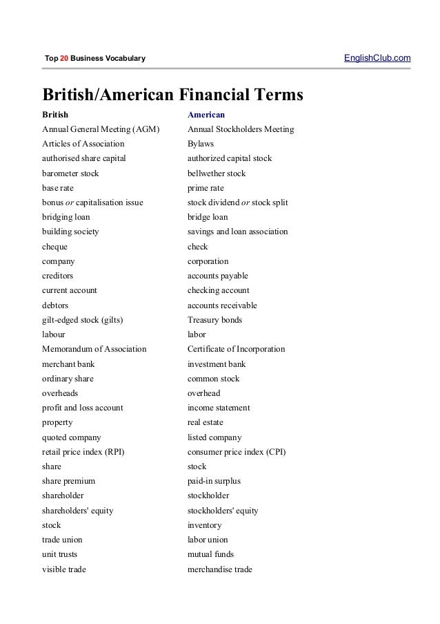 top 20 business vocabulary You can download the essential business words ebook immediately and read it on your device or print it out this ebook gives you carefully selected words in different areas of british and american business vocabulary.