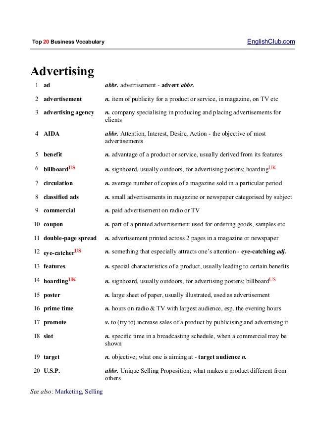 business english vocabulary list pdf