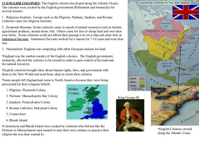 English colonies review pp
