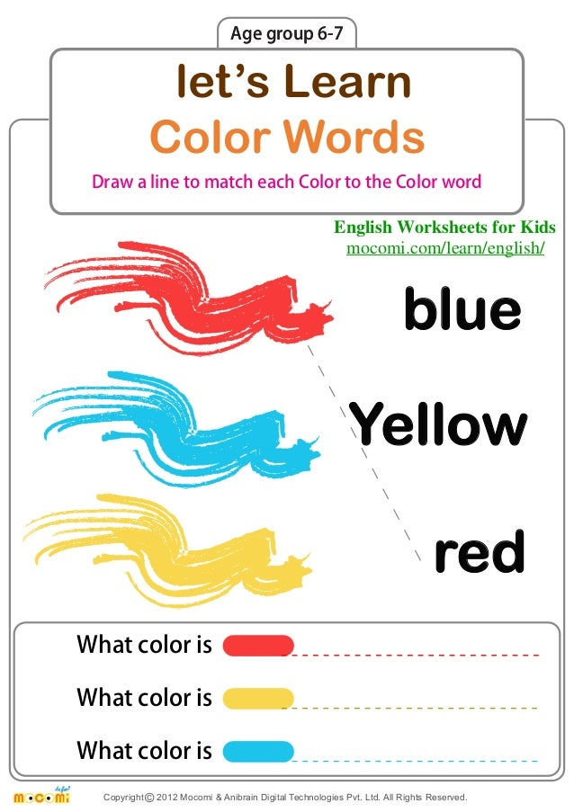 Lets Learn Color Words English Worksheets For Kids Mocomi