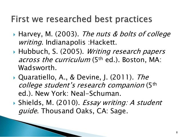 Nuts and bolts for college writing