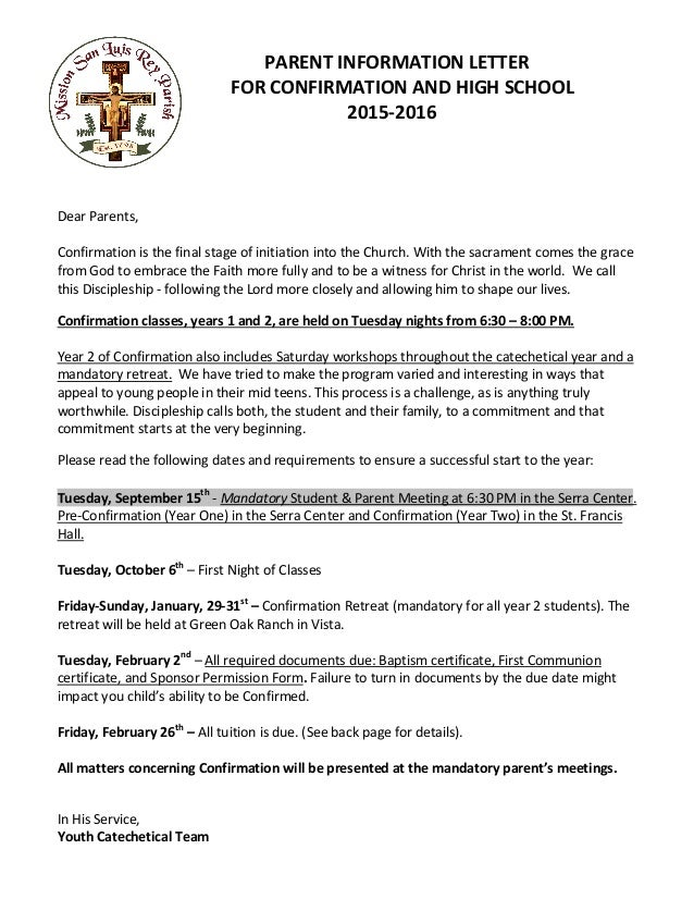 confirmation parents orientation letter 20152016