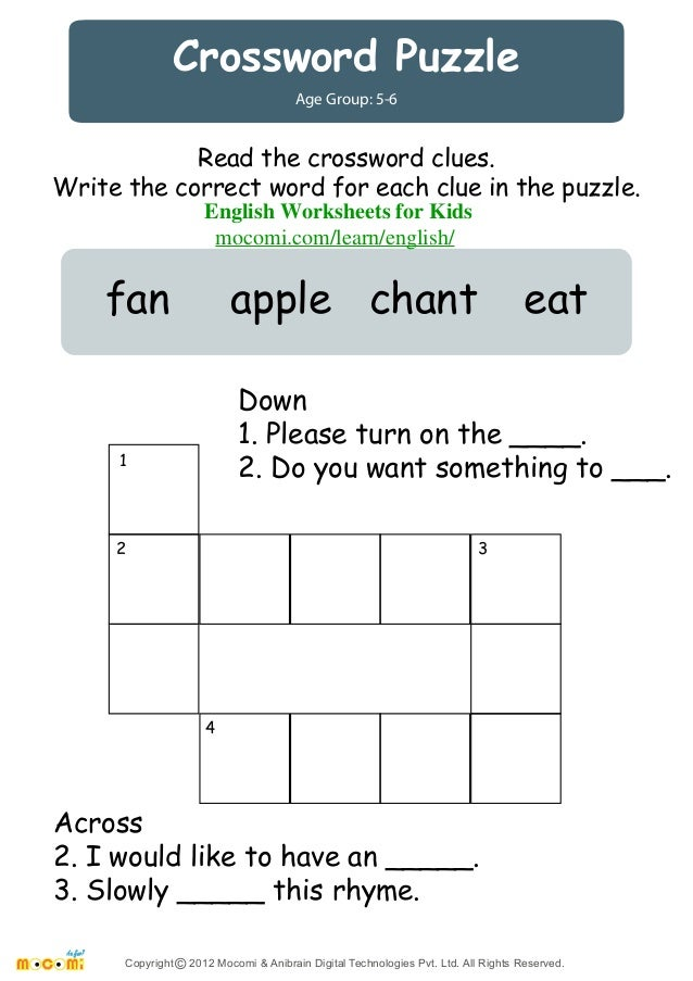 Crossword Puzzle English Worksheets For Kids Mocomi