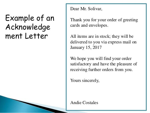 Order Acknowledgement And Delay In Order Letter on What To Write In Thank You Cards Writing