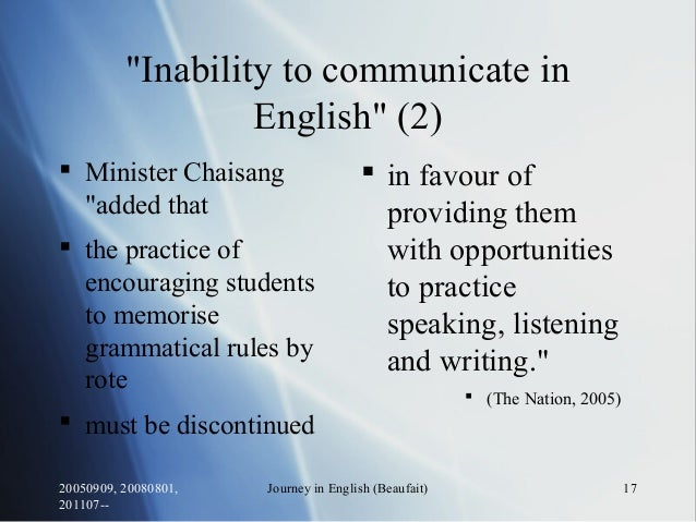 """20050909, 20080801, 201107-- Journey in English (Beaufait) 17 """"Inability to communicate in English"""" (2)  Minister Chaisan..."""