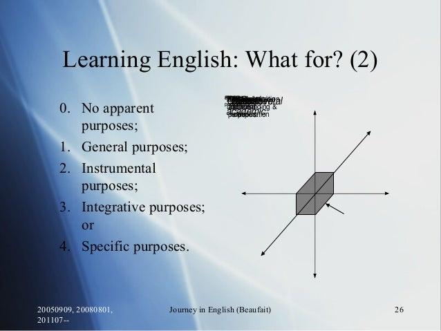 20050909, 20080801, 201107-- Journey in English (Beaufait) 26 IntegrativeInstrumentalAcademicNon- academic GeneralSpecific...