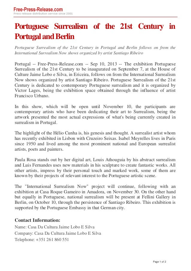 Portuguese Surrealism of the 21st Century in PortugalandBerlin Portuguese Surrealism of the 21st Century in Portugal and B...