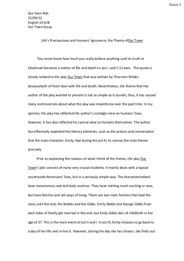 High School Narrative Essay Examples Grace Seo Yeon Rohenglish  Abour Town Essay Lifes Preciousness   High School Persuasive Essay Examples also Essay Thesis Statement Example English Essay Causes Of The English Civil War Essay