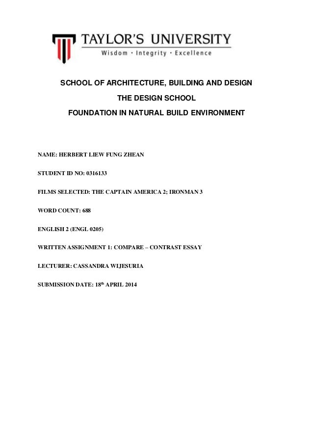 SCHOOL OF ARCHITECTURE, BUILDING AND DESIGN THE DESIGN SCHOOL FOUNDATION IN NATURAL BUILD ENVIRONMENT NAME: HERBERT LIEW F...