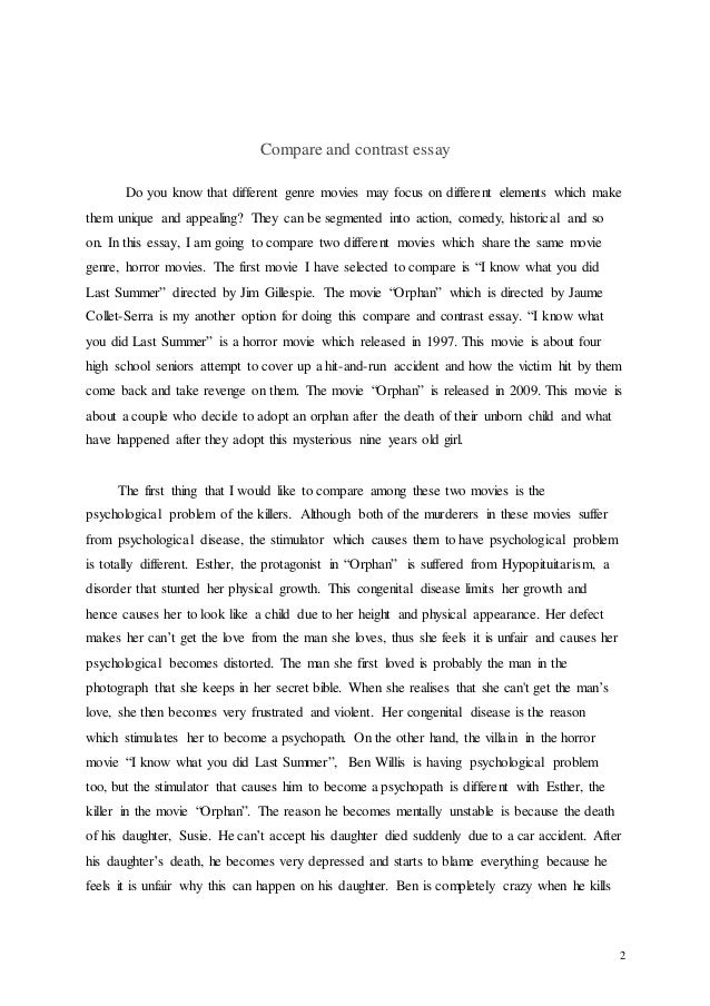 Compare and contrast essay about two movies
