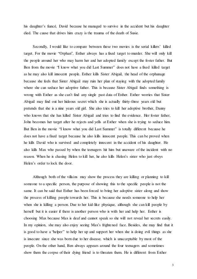 english compare contrast essay ben is completely crazy when he kills 3