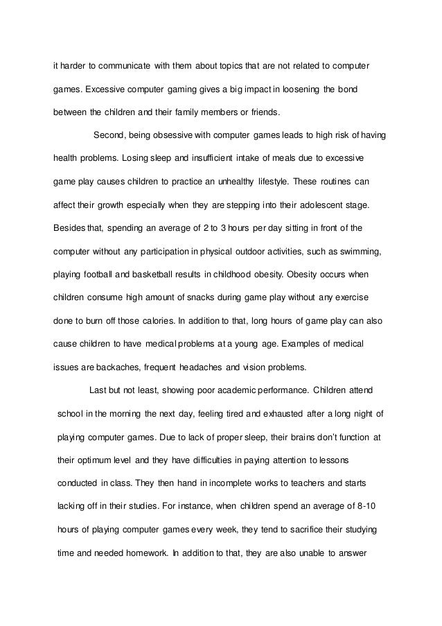 essay on video games addiction