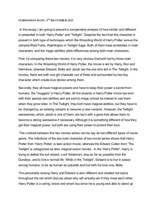 compare and contrast harry potter and twilight essay Looking for interesting compare and contrast essay topics these 140 fresh compare and contrast topics will wow comparing harry potter with lord of.