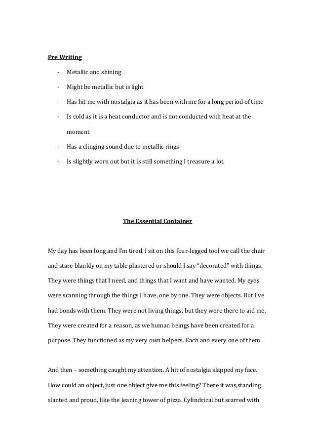 Descriptive / Narrative Essay