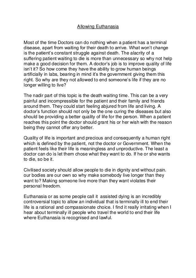 euthanasia right to die essay