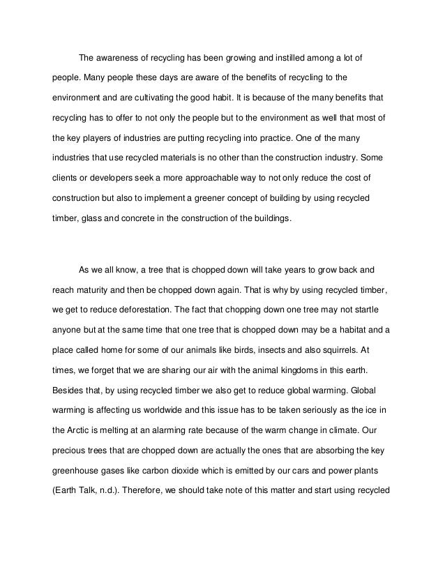 english essay recycling pdf