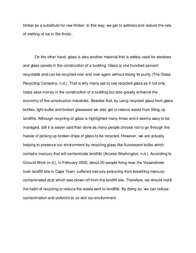 recycling essays college