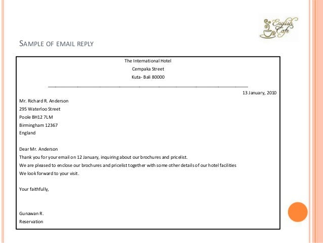 SAMPLE OF EMAIL REPLY The International Hotel