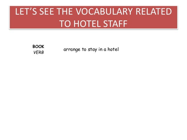 For book english hotel staff