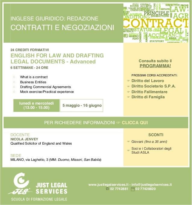 INGLESE GIURIDICO: REDAZIONE CONTRATTI E NEGOZIAZIONI 24 CREDITI FORMATIVI ENGLISH FOR LAW AND DRAFTING LEGAL DOCUMENTS - ...