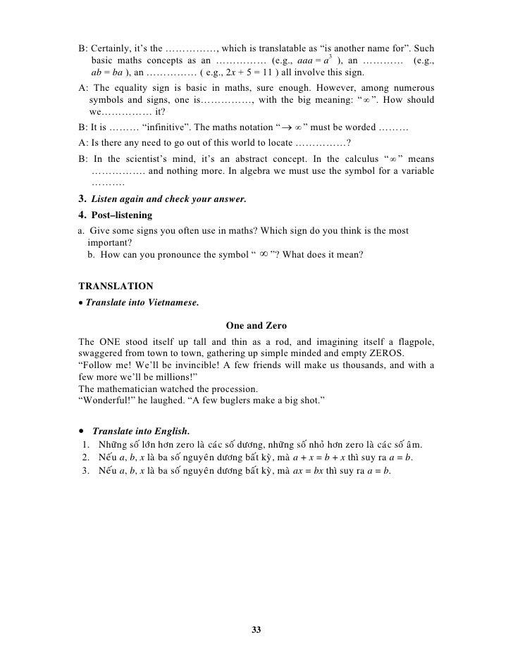 English For Maths