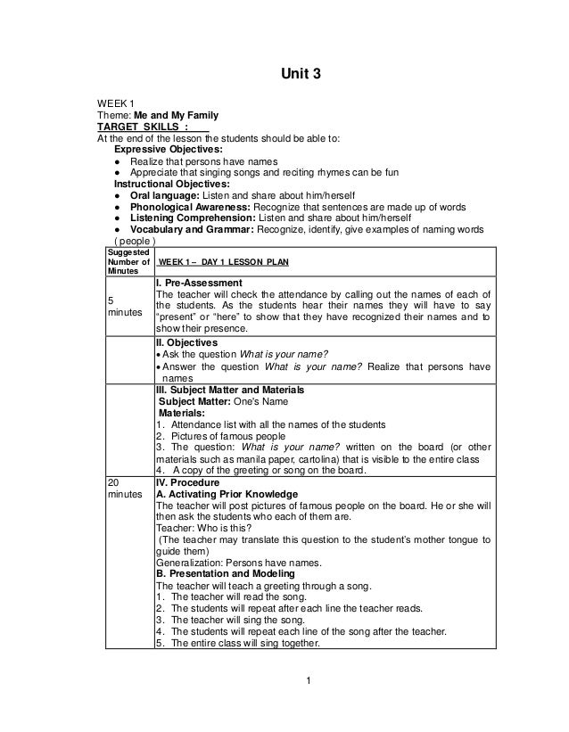 1 Unit 3 WEEK 1 Theme: Me and My Family TARGET SKILLS : At the end of the lesson the students should be able to: Expressiv...