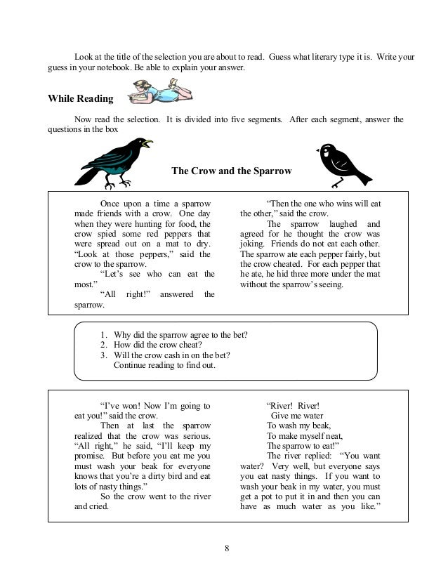 Worksheets Grade 4 Reading Selection english grade 7 8