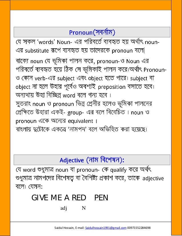 English grammar in Bangla