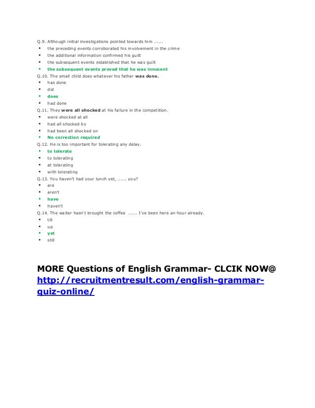 English Grammar PDF Quiz Questions And Answers for Class 7,8