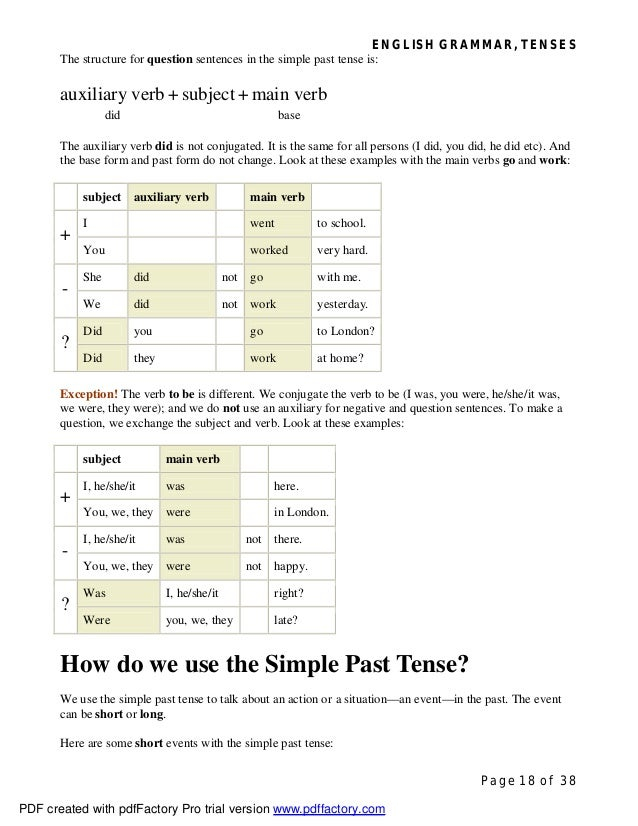 ENGLISH GRAMMAR, TENSES Page 18 of 38 The structure for question sentences in the simple past tense is: auxiliary verb + s...